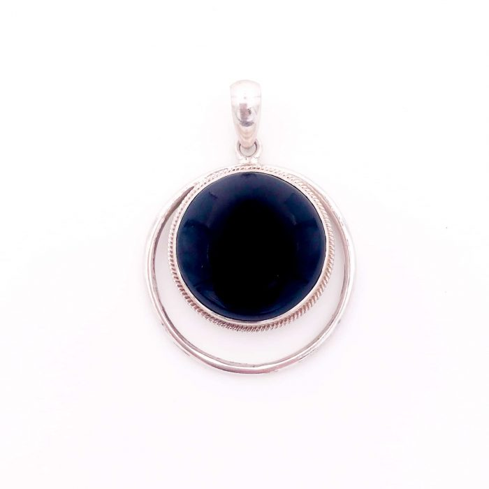 Onyx Crescent Moon Silver Pendant