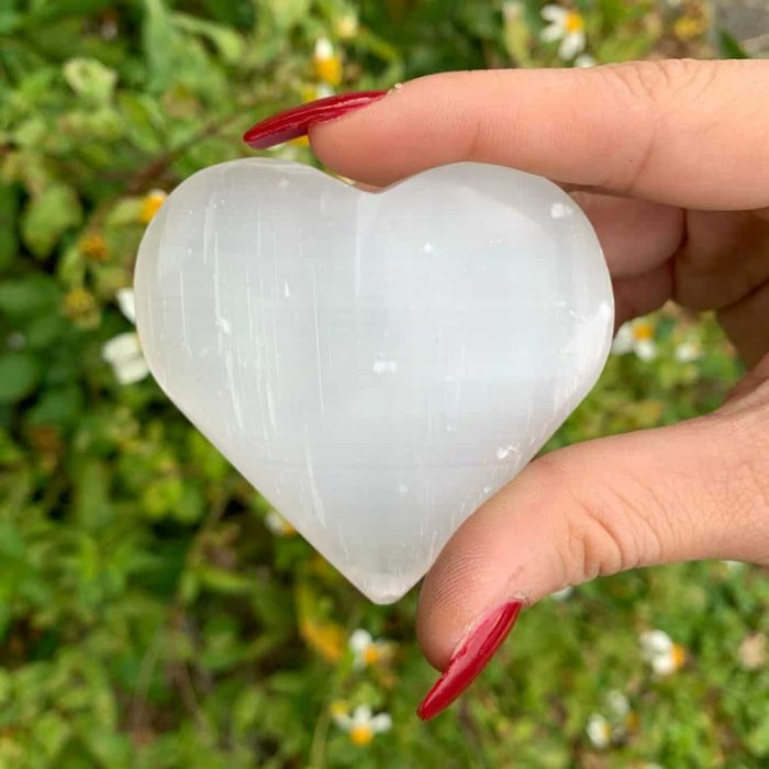 Med Selenite Heart Stone
