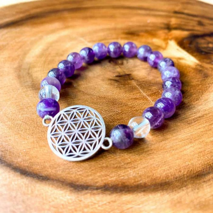 Amethyst And Clear Quartz 8mm Bead Flower Of Life Charm Bracelet.