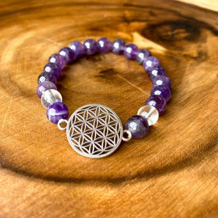 Amethyst Flower Of Life 8mm Gem Bracelet.