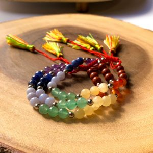 7 Chakra Bead 6mm Bracelet With Tassel