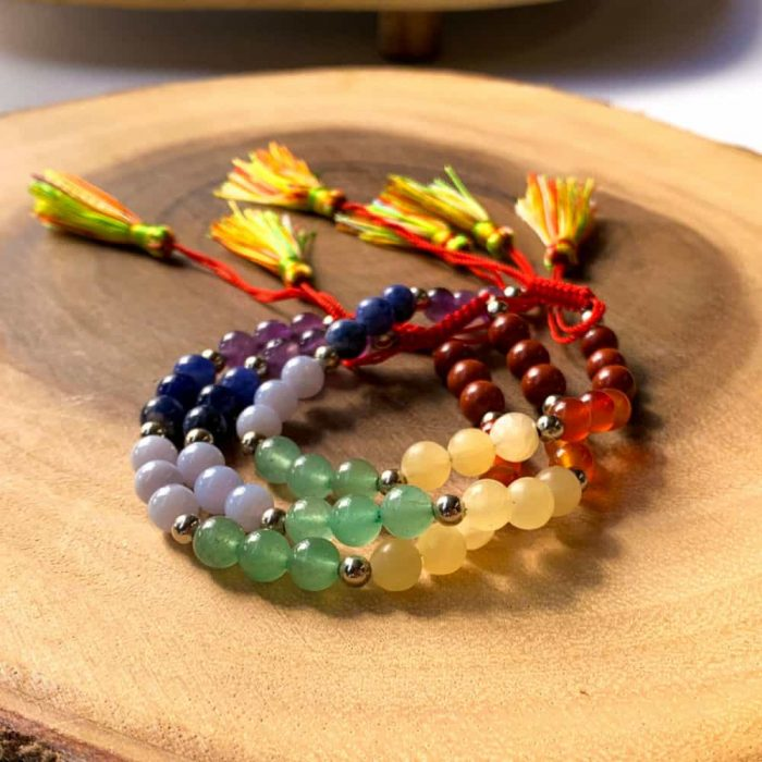7 Chakra Bead 6mm Bracelet With Tassel