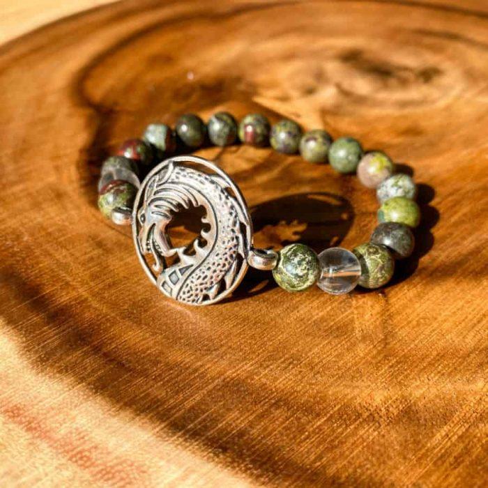 Dragon Bloodstone And Clear Quartz 8mm Bead Charm Bracelet