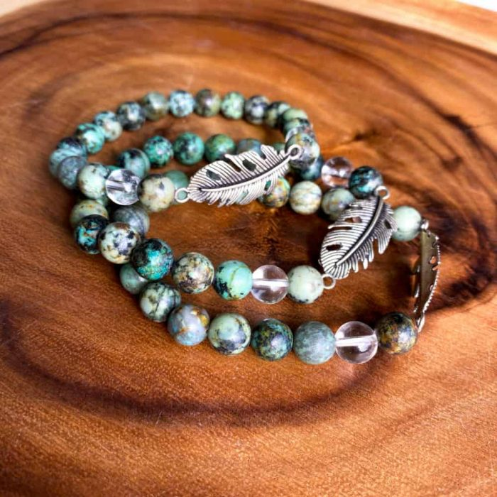 African Turquoise And Clear Quartz 8mm Bead Charm Bracelet