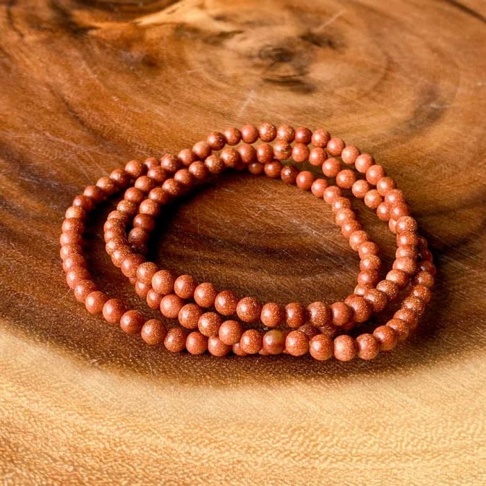 Red Goldstone 4 Mm Bead Bracelet