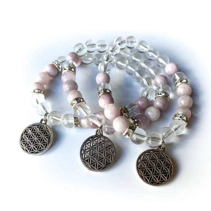 Clear Quartz And Kunzite 8mm Bead Charm Bracelet