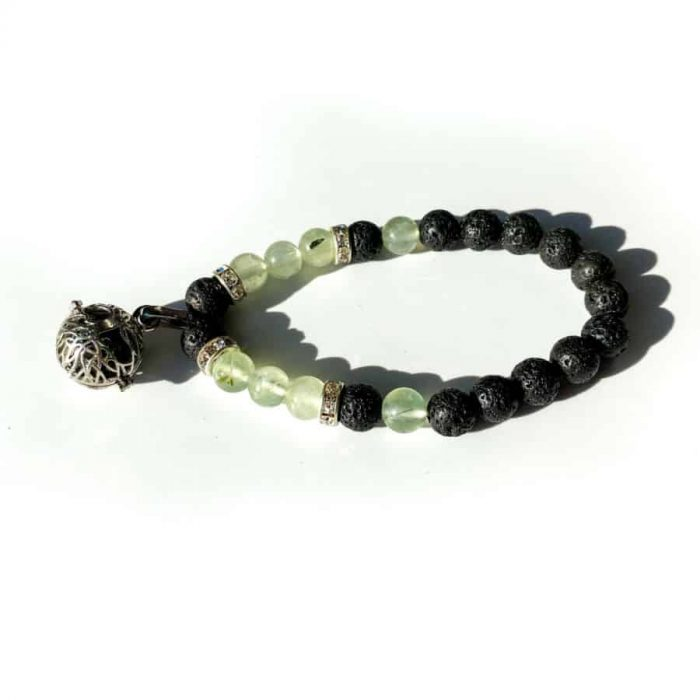 Lava And Prehnite 8mm Bead Charm Bracelet