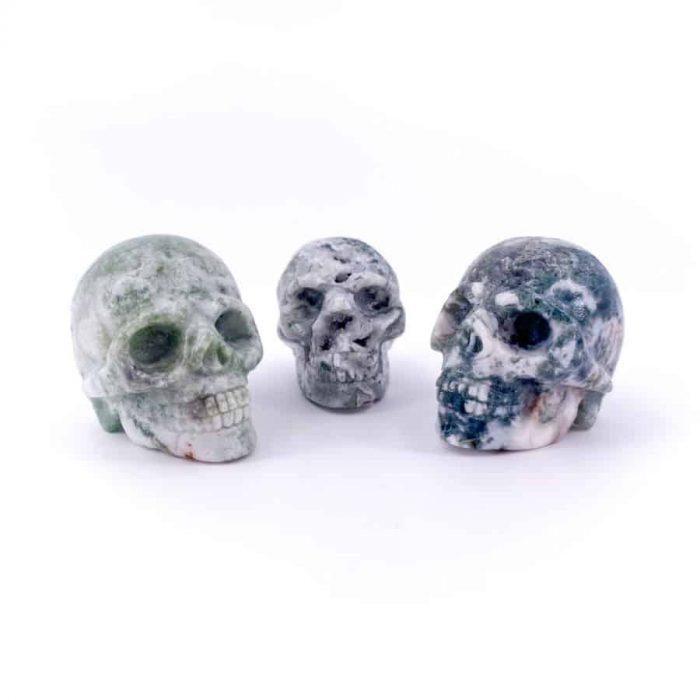 Moss Agate Skull Totem