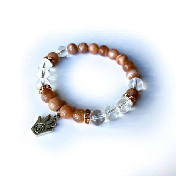 Peach Moonstone Quartz w: Reiki Hand Charm 2