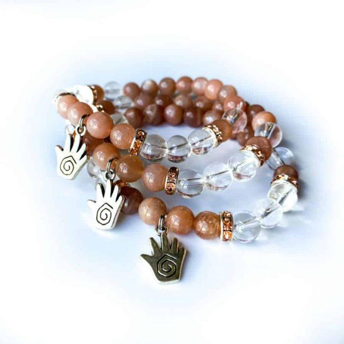Peach Moonstone And Clear Quartz 8mm Bead Charm Bracelet