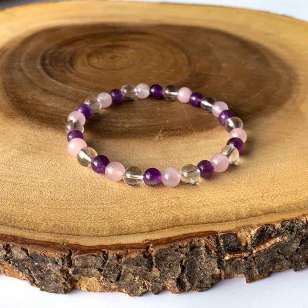 Rose Quartz Amethyst Quartz Gem Bracelet2