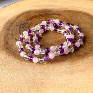 Amethyst Rose & Clear Quartz 6mm Bracelet