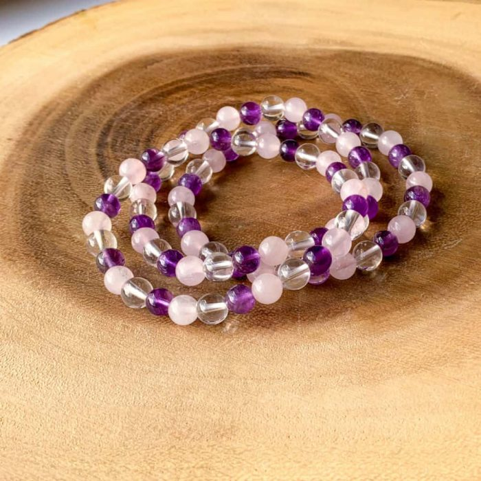 Amethyst Rose & Clear Quartz 6mm Bracelet