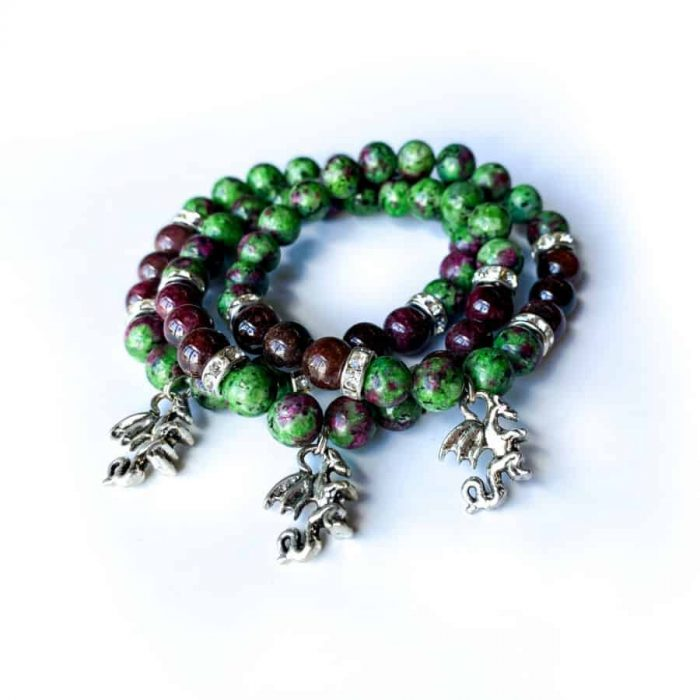 Ruby Zoisite And Garnet 8mm Bead Charm Bracelet