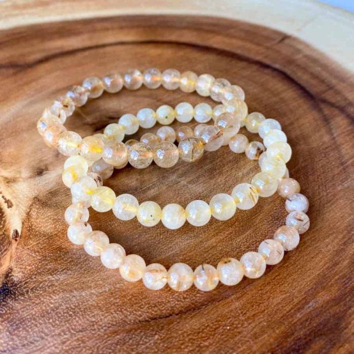 Rutilated Quartz 8mm Bead Bracelets