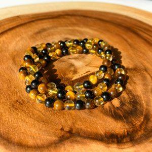 Tigers Eye, Citrine And Tourmaline 6mm Bracelet
