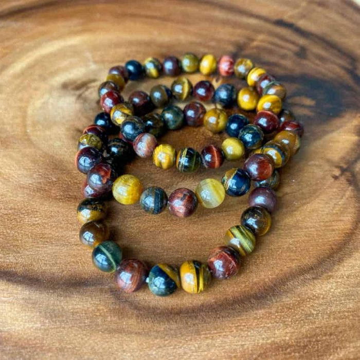 Tri Color Tigers Eye Bracelets 8mm