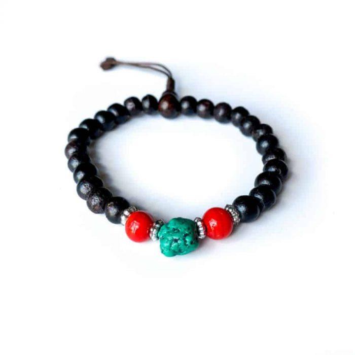 Turquoise, Coral, Rosewood 8 Mm Drawstring Bracelet