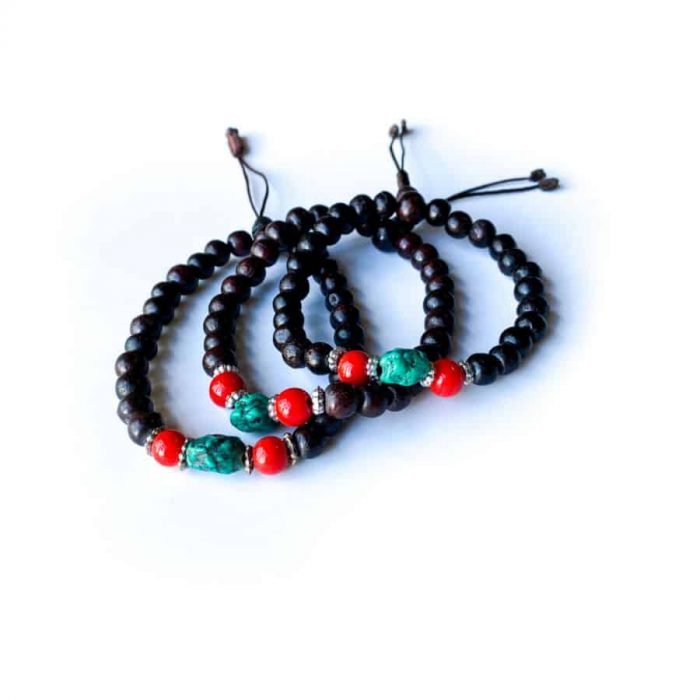 Rosewood With Turquoise And Coral 8mm Drawstring Bracelet