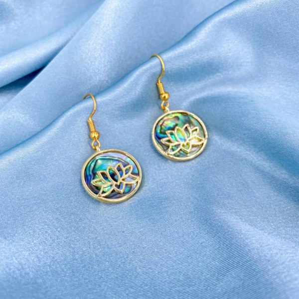 Abalone Circle Gold Lotus Earrings-w900-h900