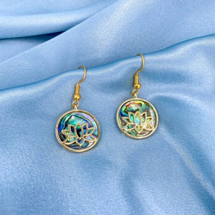 Abalone Circle Gold Lotus Earrings2 W900 H900