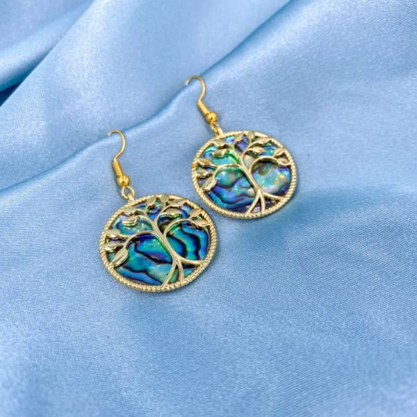 Abalone Circle Gold Tree of Life Earrings-w900-h900