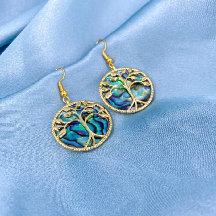 Abalone Tree Of Life 14k Gold Earrings