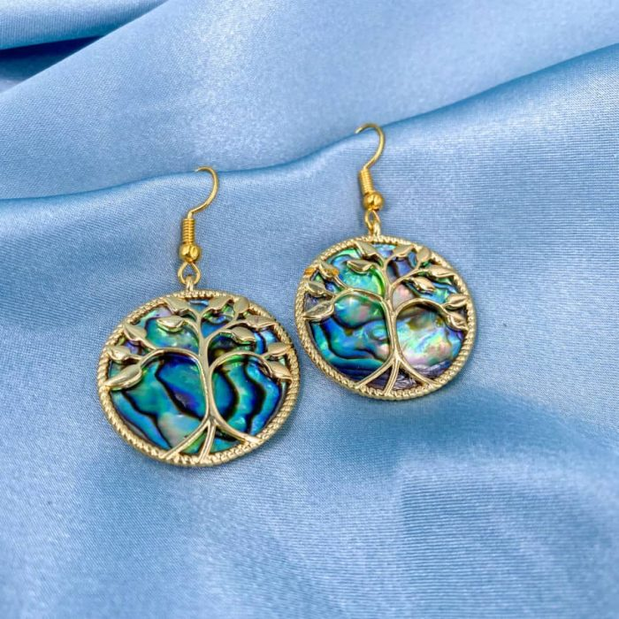 Abalone Circle Gold Tree Of Life Earrings2 W900 H900