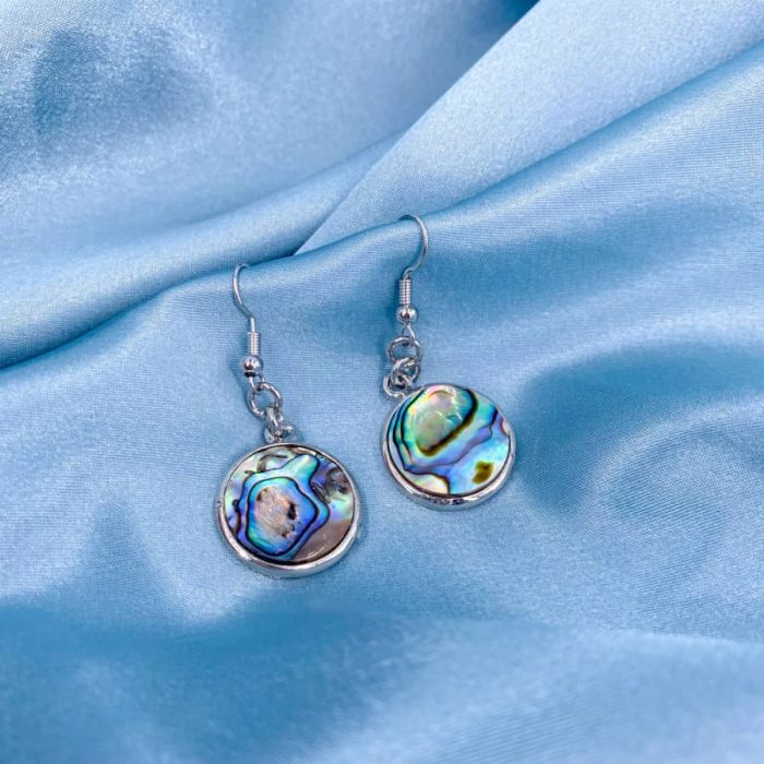 Silver Abalone Circle Earrings