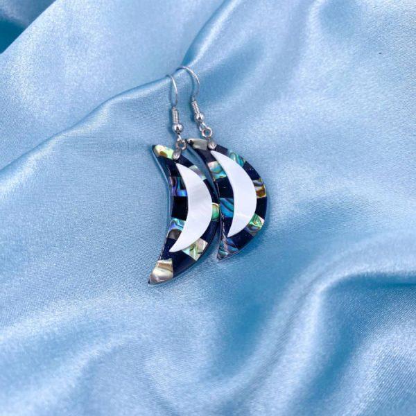 Abalone Crescent Silver Enamel Earrings-w900-h900