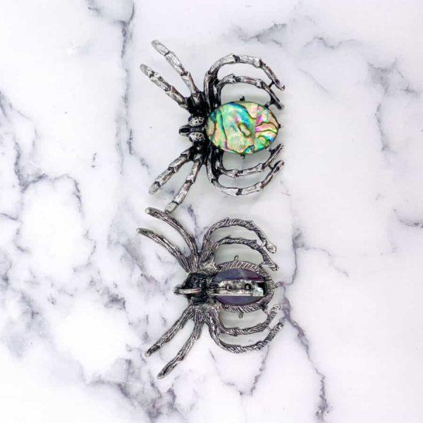 Abalone Rose Quartz Amethyst Spider Brooch Pendant Titanium Silver3-w900-h900