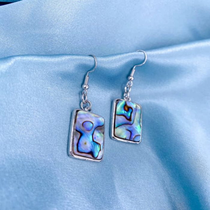 Silver Abalone Rectangle Earrings