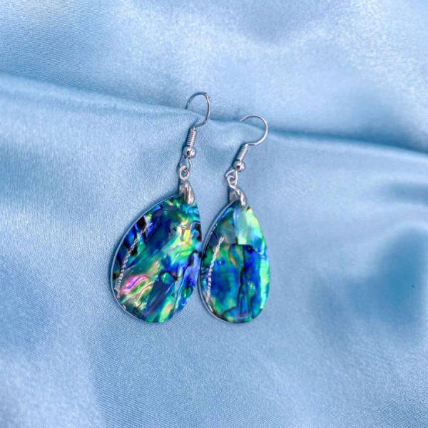 Abalone Teardrop Silver Earrings-w900-h900