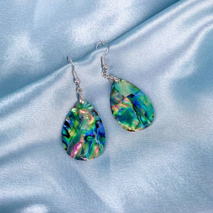 Silver Abalone Medium Teardrop Earrings