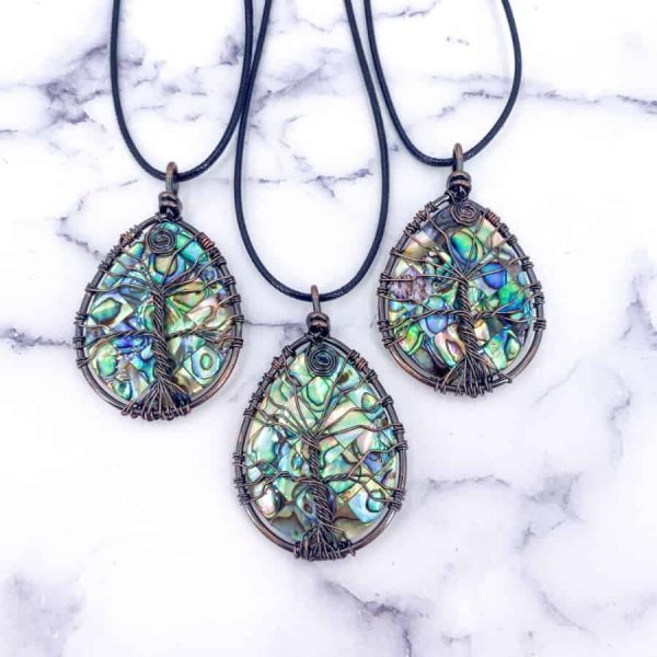 Abalone Tree Of Life Pendant Copper Oval LG1-w900-h900