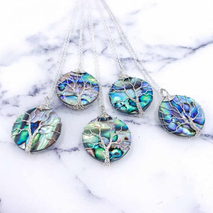 Abalone Tree Of Life Wire Pendant