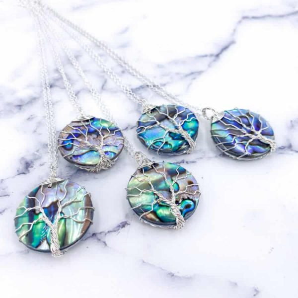 Abalone Tree of Life Silver Wire Wrap Circle-w900-h900
