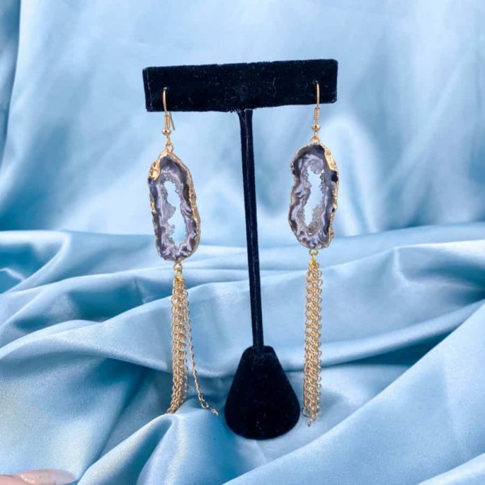 Agate Geode Gold 14k Plated Gold Dangling Earrings W900 H900
