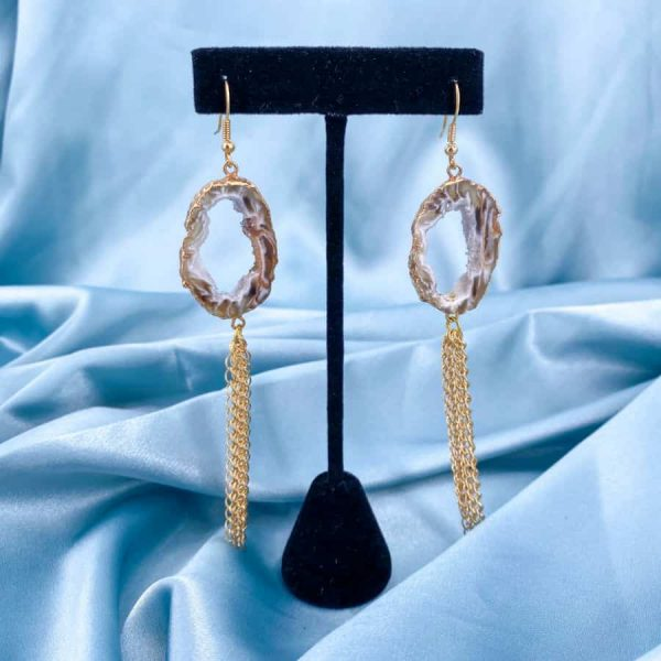 Agate Geode Gold 14k Plated Gold Dangling Earrings2-w900-h900