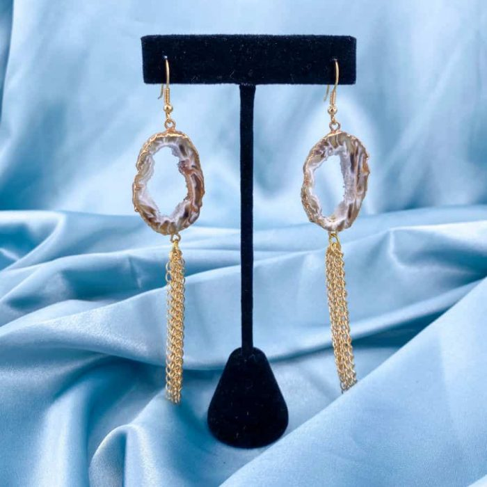 14k Gold Agate Slice Geode Earrings
