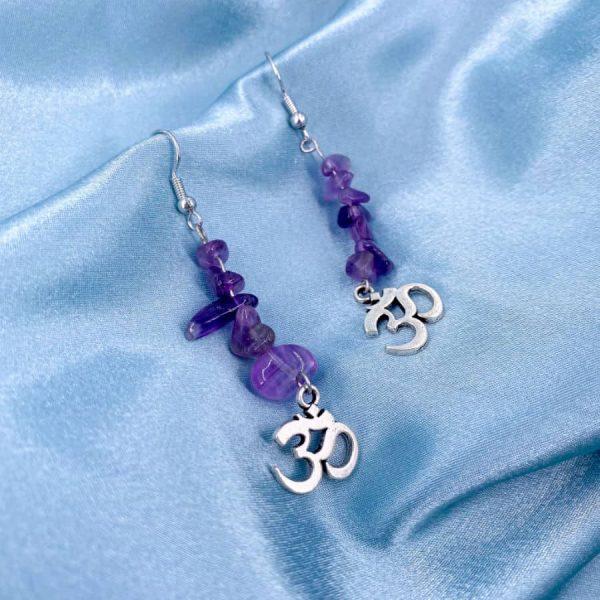 Amethyst Chip Om Silver Earrings-w900-h900