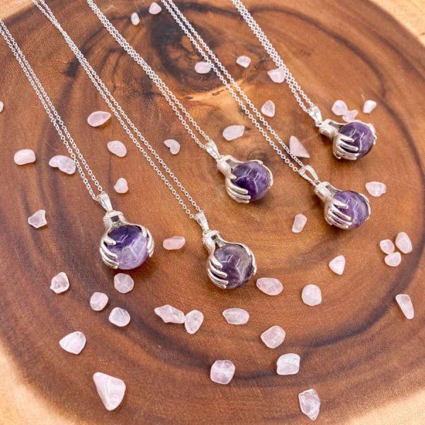 Amethyst Healing Hands Silver Pendant 3-w900-h900
