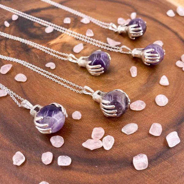 Amethyst Healing Hands Silver Pendant-w900-h900