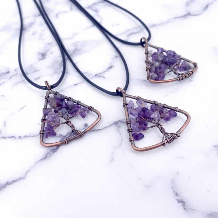 Amethyst Tree Of Life Pendant Copper Upper Triangle2 W900 H900
