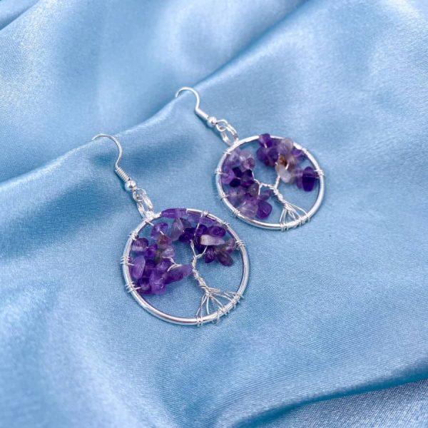 Amethyst Tree of Life Silver Wire Wrap Earrings-w900-h900