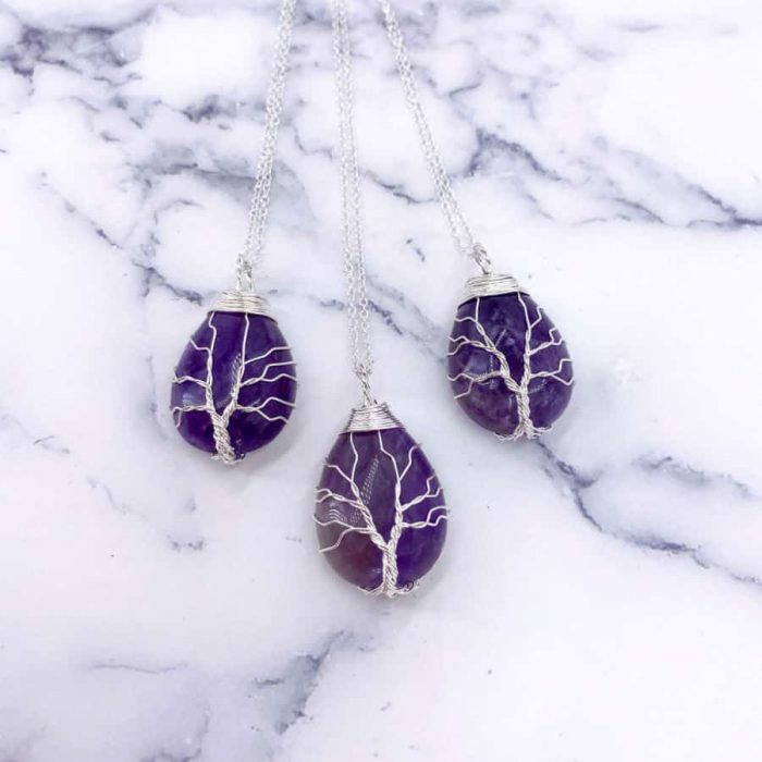 Amethyst Tree Of Life Wire Wrap Silver Pendant Oval3 W900 H900