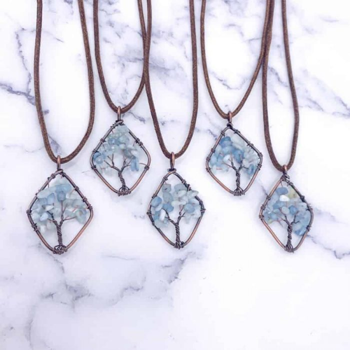 Copper Diamond Tree Of Life Wire Wrap Pendant