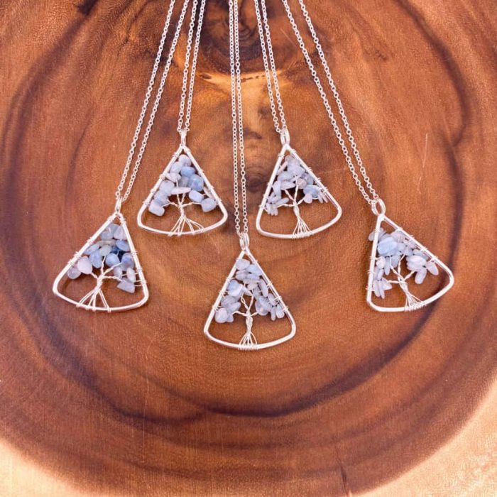 Aquamarine Tree Of Life Wire Wrap Silver Pendant Upward Triangle3 W900 H900
