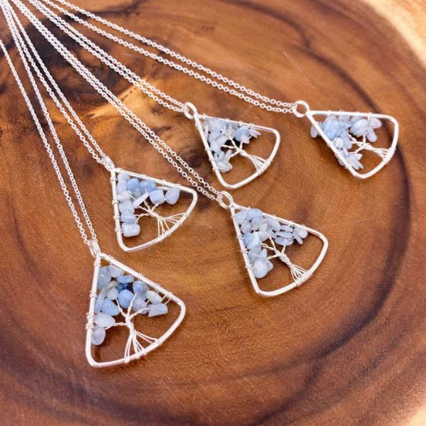 Aquamarine Tree of Life Wire Wrap Silver Pendant Upward Triangle4-w900-h900