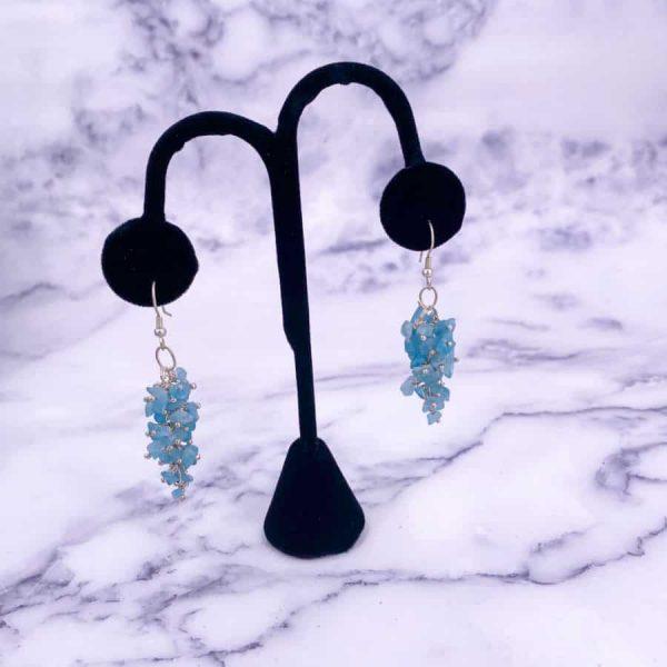 Blue Apatite Chip Silver Earrings-w900-h900